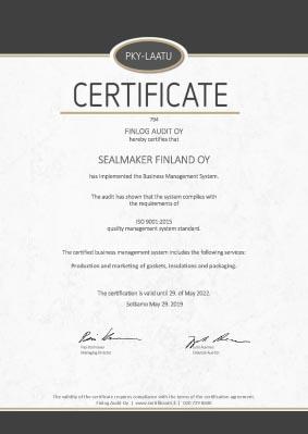 Sealmaker - PKY-Laatusertifikaatti